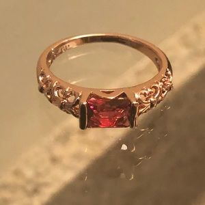Beautiful 18K GP Pink Sapphire Ring